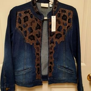 "NWT ""Chico''s"" beaded open front jean jacket."
